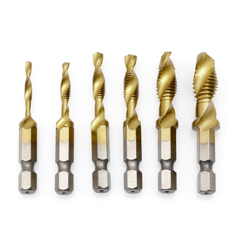M3-M10 Hex Shank Titanium Plated HSS-Hand Screw Thread Metric Tap Drill Bit 6pcs