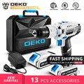 DEKO GCD18DU3 DC 18 в электрическая отвертка  беспроводная дрель  мощный драйвер  литиевая батарея 13 мм 50Н. М  2 скорости для деревообработки