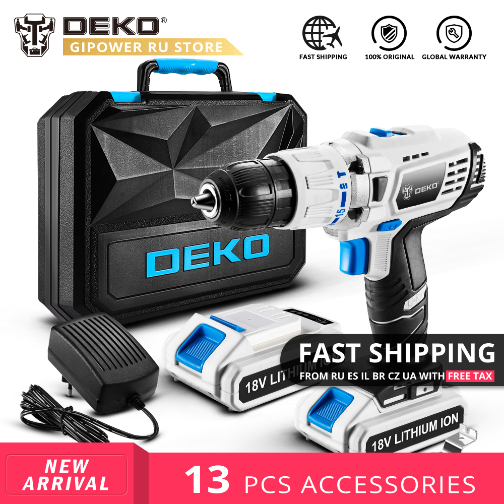 DEKO GCD18DU3 DC 18V <font><b>Electric</b></font> <font><b>Screwdriver</b></font> <font><b>Cordless</b></font> <font><b>Drill</b></font> <font><b>Impact</b></font> Power Driver Lithium Battery 13mm 50N.m 2 Speed for Woodworking image
