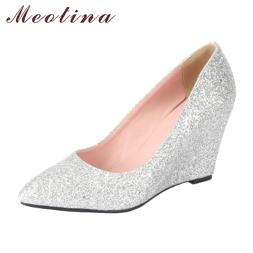 Meotina Women Wedding Shoes 2018 Spring High Heels Wedges Pumps Silver Pointed Toe Slip On Shoes Big Size 9 42 43 Ladies Shoes buckle slip on wedges