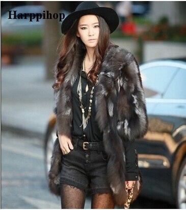 Free Shipping Silver Fox Fur Coat Women Long Natural Fox Fur Coat Winter Thick Real Fur Jacket Custom Plus Size