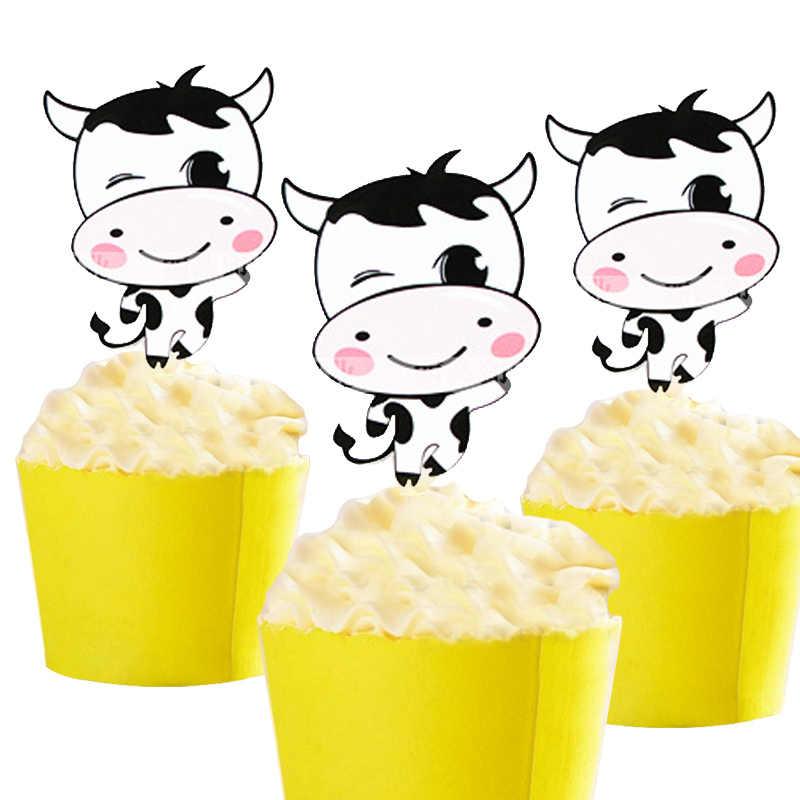 50pcs Dairy Cattle Cow Giraffe Panda Blue Elephant King Lion Cartoon Paper Cake Topper Decor Birthday Wedding Party Supplies