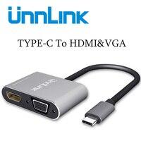 Unnlink USB C Type C To HDMI VGA 20cm Converter Support 4K 30Hz 1080P 60Hz For