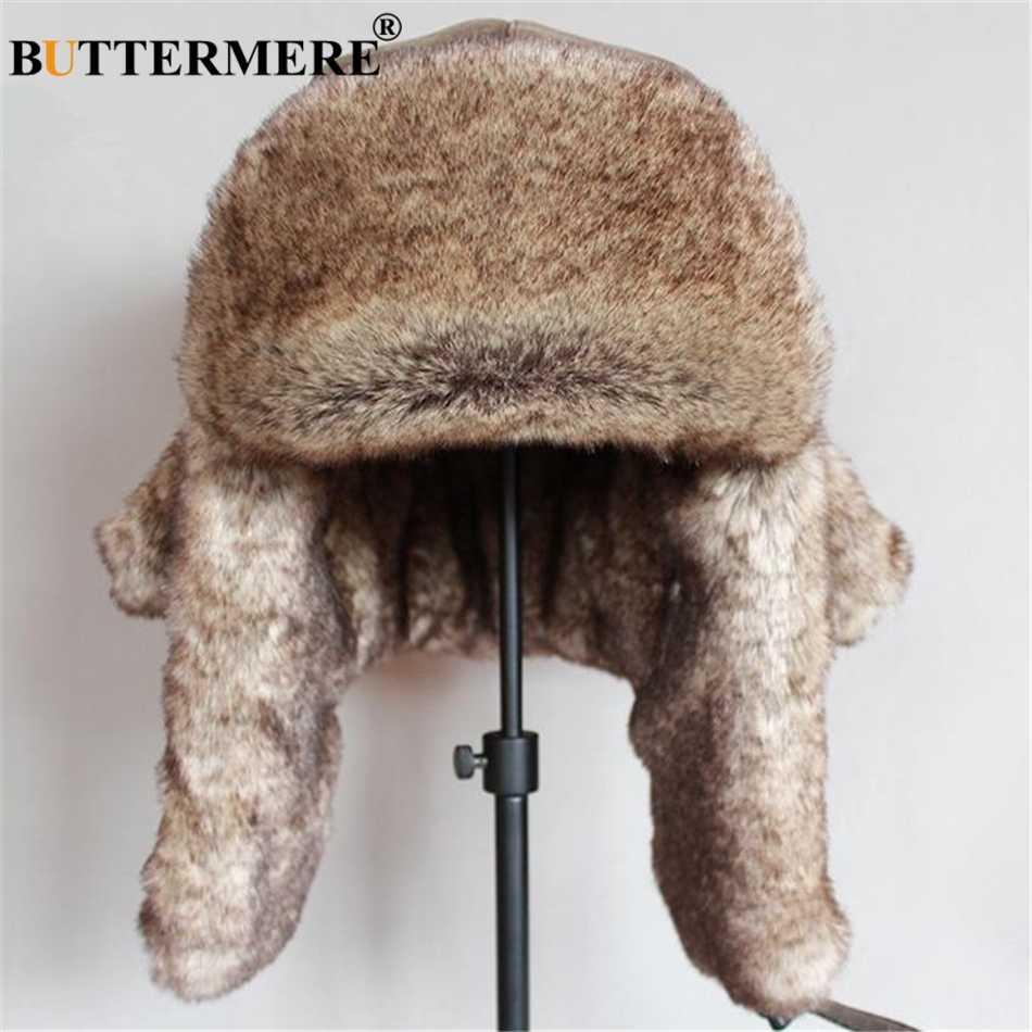 d06eecebd BUTTERMERE Leather Mens Bomber Hat Fur Winter Hat Soviet Ushanka Hat  Russian Brown Warm Ski Cycling Earflap Male Trapper Hat