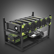 New 6 GPU Mining Rig Aluminum Stackable Case Frame for ETH/ZEC/Bitcoin With Fan EM88