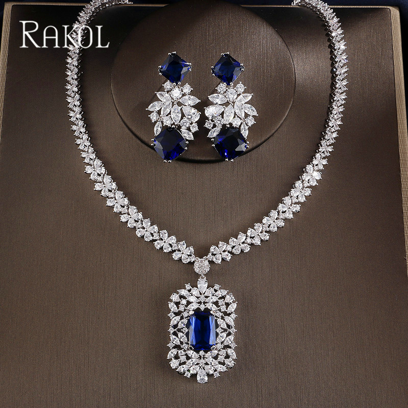 RAKOL Fashion Cubic Zirconia Tag Necklace Earring Jewelry Set High Quality Big Square Zircon Stone Women