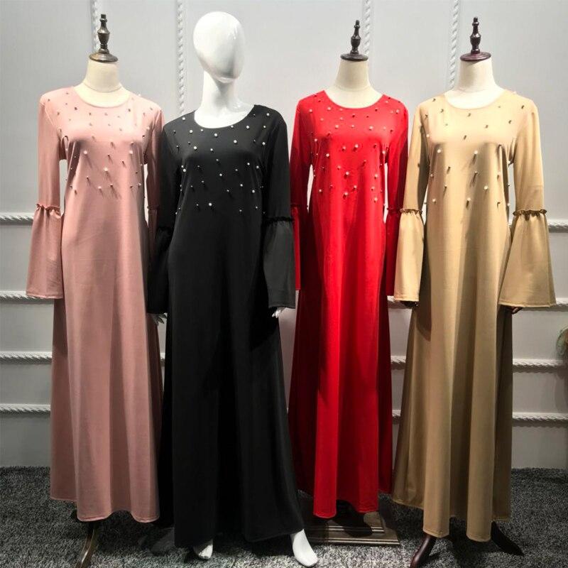 Plus Size Vestido Longo Robe Femme Spring 2019 UAE Abaya Muslim Dubai Women Beading Floor Length