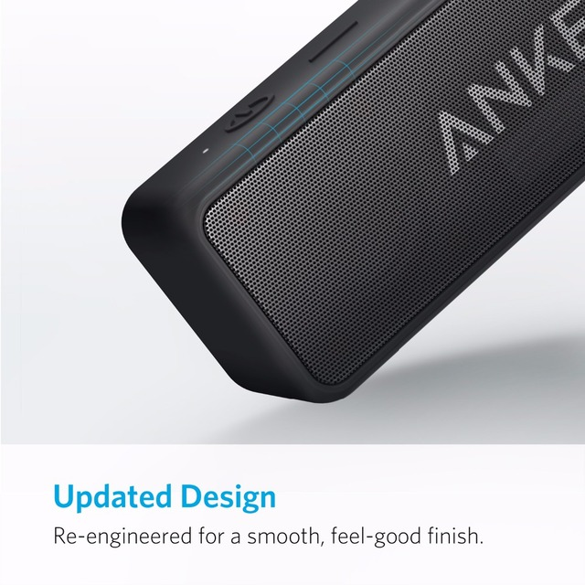 Anker Soundcore 2 Portable Bluetooth Wireless Speaker Better Bass 24-Hour Playtime 66ft Bluetooth Range IPX7 Water Resistance 5