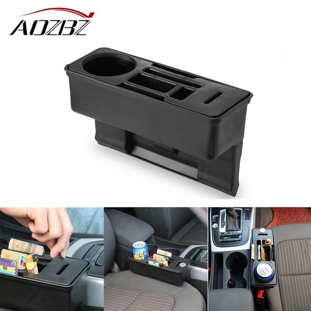 Car Seat Crevice Storage Organizer Auto Console Side Pocket Seat Gap Pocket Organizer Coin Box Water Cup Holder