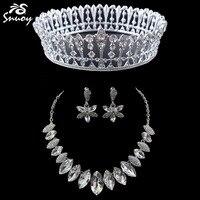 Jóias Conjuntos de 3 Peças de Prata Coroa Rodada Completa E Colar Brincos Para As Mulheres Acessórios de Jóias De Casamento Dubai