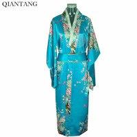 Light Blue Vintage Japońskich damska Kimono Yukata Haori Z Obi Suknia Klasyczny Odzież Jeden Rozmiar Azji H0039