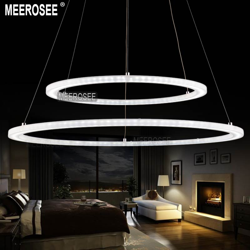 Modern Two Rings Led Pendant Light Arcylic Ring Suspension Fixture Circle Lighting New Design Md5000 In Lights From