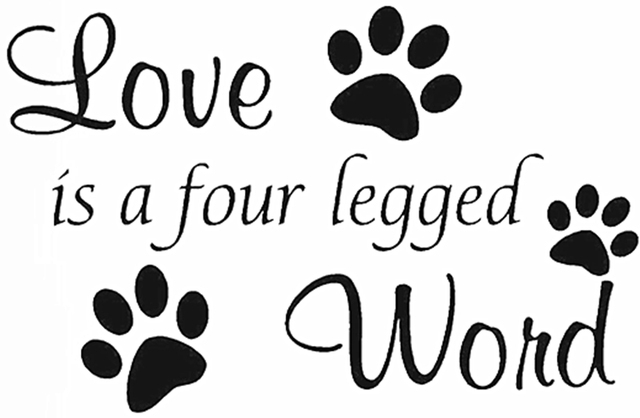 Yingkai Love Is A Four Legged Word Cute Funny Pet Vinyl Decal Sticker Quote Saying For
