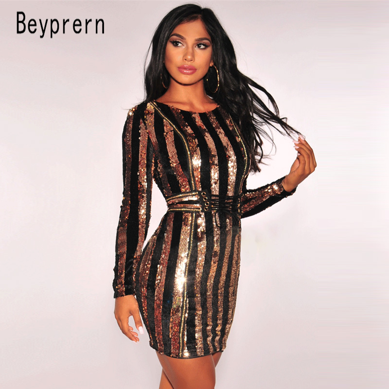 Enthusiastic Beyprern Glitter Gold Sequin Stripe Cutting Sheath Mini Dress Sparkle Autumn Long Sleeve Sequined Lace-up Waist Chirstmas Dress Save 50-70% Women's Clothing