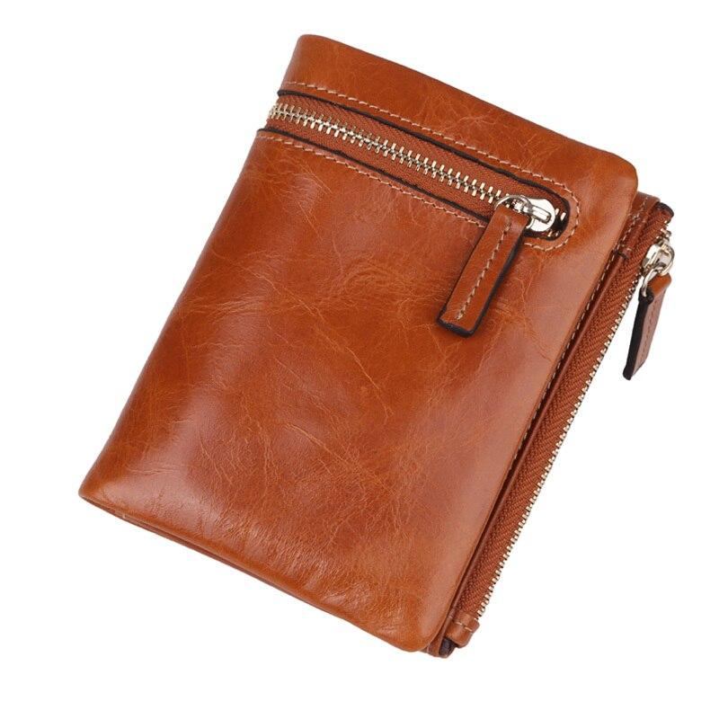 b37fa68d35fe US $15.8 40% OFF|Hot Selling Oil Wax Genuine Leather Wallets Women Men  Short Slim 2 folded Zipper Wallet Bag,YW DM3053-in Wallets from Luggage &  Bags ...