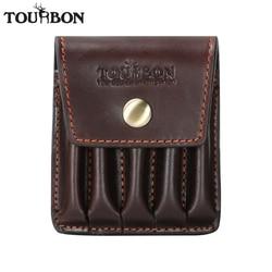 Tourbon 사냥 빈티지 정품 가죽 카트리지 홀더 탄약 껍질 주머니 5 소총 총알 라운드 지갑 캐리어 총 액세서리