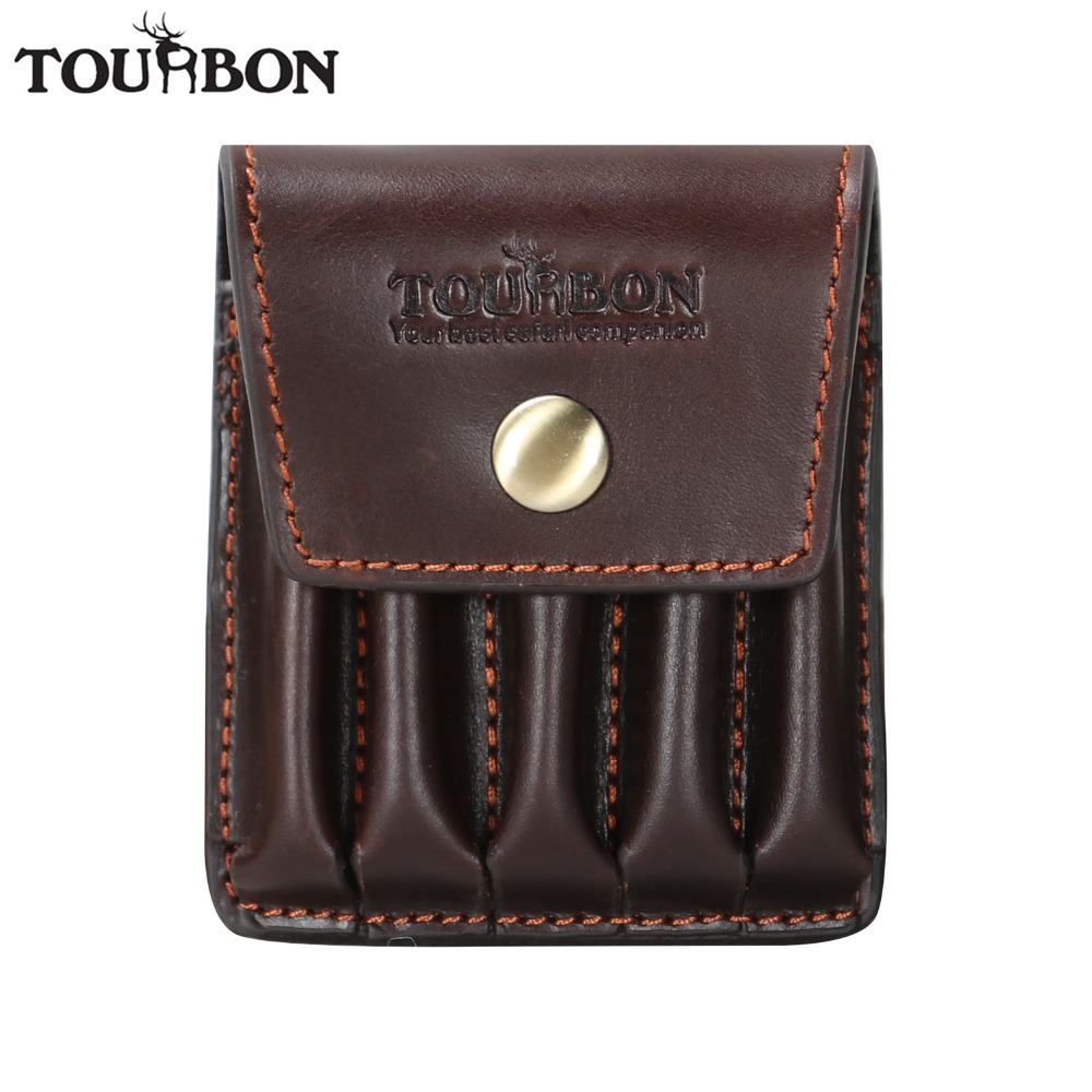 все цены на Tourbon Hunting Vintage Genuine Leather Cartridges Holder Ammo Shells Pouch 5 Rifle Bullet Rounds Wallet Carrier Gun Accessories онлайн