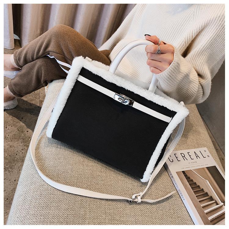 Korean handbag large capacity bucket hand bag designer big tote designer Fur women messengerc winter shopping wool no lock 105