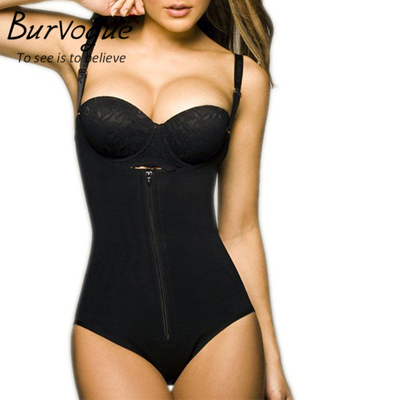 Burvogue Clips or Zip Full Body Shaper Women Waist Trainer Slimming Shapewear Butt Lifter Tummy Control