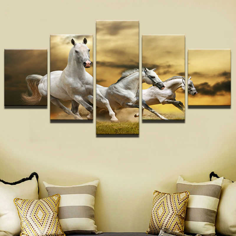 Canvas Painting Cuadros Home Decoration 5 Panel Animal Horses Wall Art Modular Pictures Painting For Living Room Printed