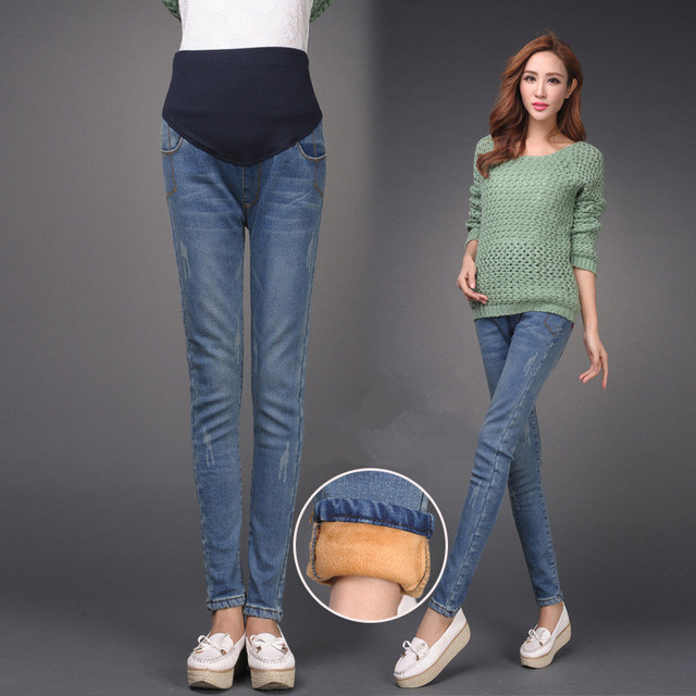 17b7d8a58a New Elastic Waist Cotton Maternity Jeans Pants winter Maternity Wear  Leggings for Pregnant woman plus size
