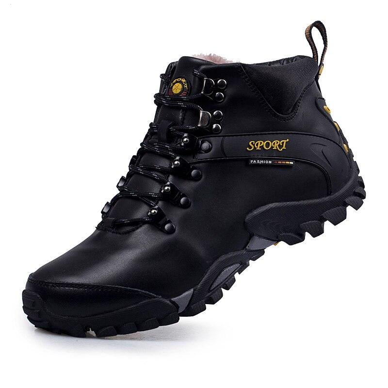 Hiver vache en cuir en peluche hommes travail bottes à lacets hommes mode modèle casual en plein air bottines antidérapantes chaussures chaudes - 5
