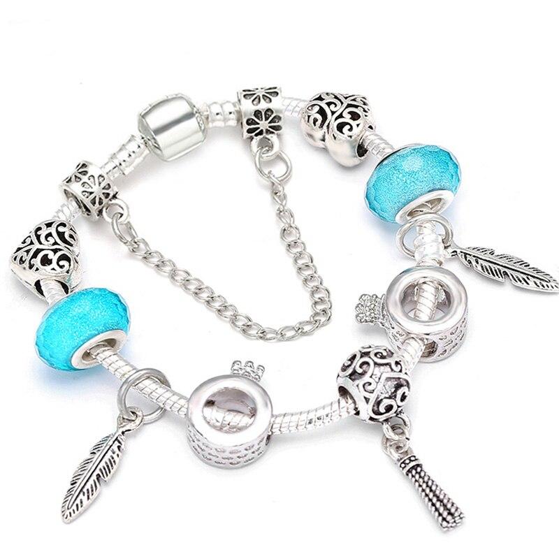 BAOPON Dropshipping Romantic DIY Charm Bracelet Feather Pendant Beads Fine Bracelet for Women Couple Jewelry Christmas Gift пандора браслет с шармами