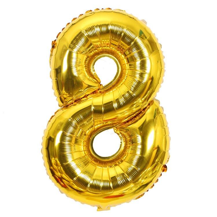 Золотой Серебряный 32 дюйма 0-9 большой гелиевый цифровой воздушный шар фольги Детский праздник день рождения вечеринка для детей мультфильм шляпа игрушки - Цвет: gold 8