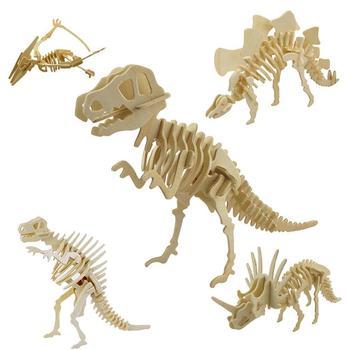 Popular Funny 3D Simulation Dinosaur Skeleton Puzzle DIY Wooden Educational Toy for Kids Intelligence Developmental Toys kids diy 3d wooden dinosaur animal
