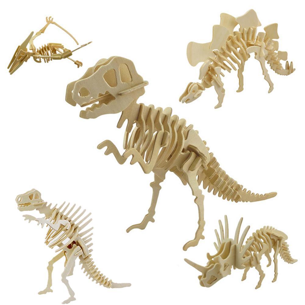 Popular Funny 3D Simulation Dinosaur Skeleton Puzzle DIY Wooden Educational Toy For Kids
