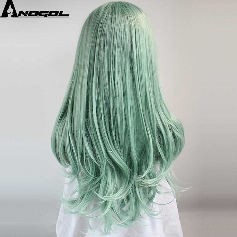Anogol High Temperature Fiber Perruque Peruca Cabelo Long Natural Wave Green Full Hair Wigs Synthetic Lace Front Wig For Women