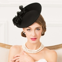 Lady Fedoras Hat Adult British Fashion Wool Hat Girls Make Up Dress Hat Female Party Hat Women Church Cap