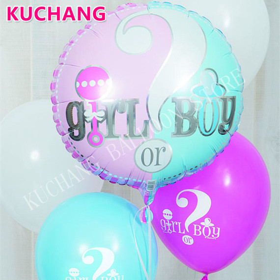 10 Pcs 18 Inch Gender Reveal Balloon Bouquet Boy Or Girl Baby Balloon Blue Globos Baby Shower Balloons Party Question Mark Balls