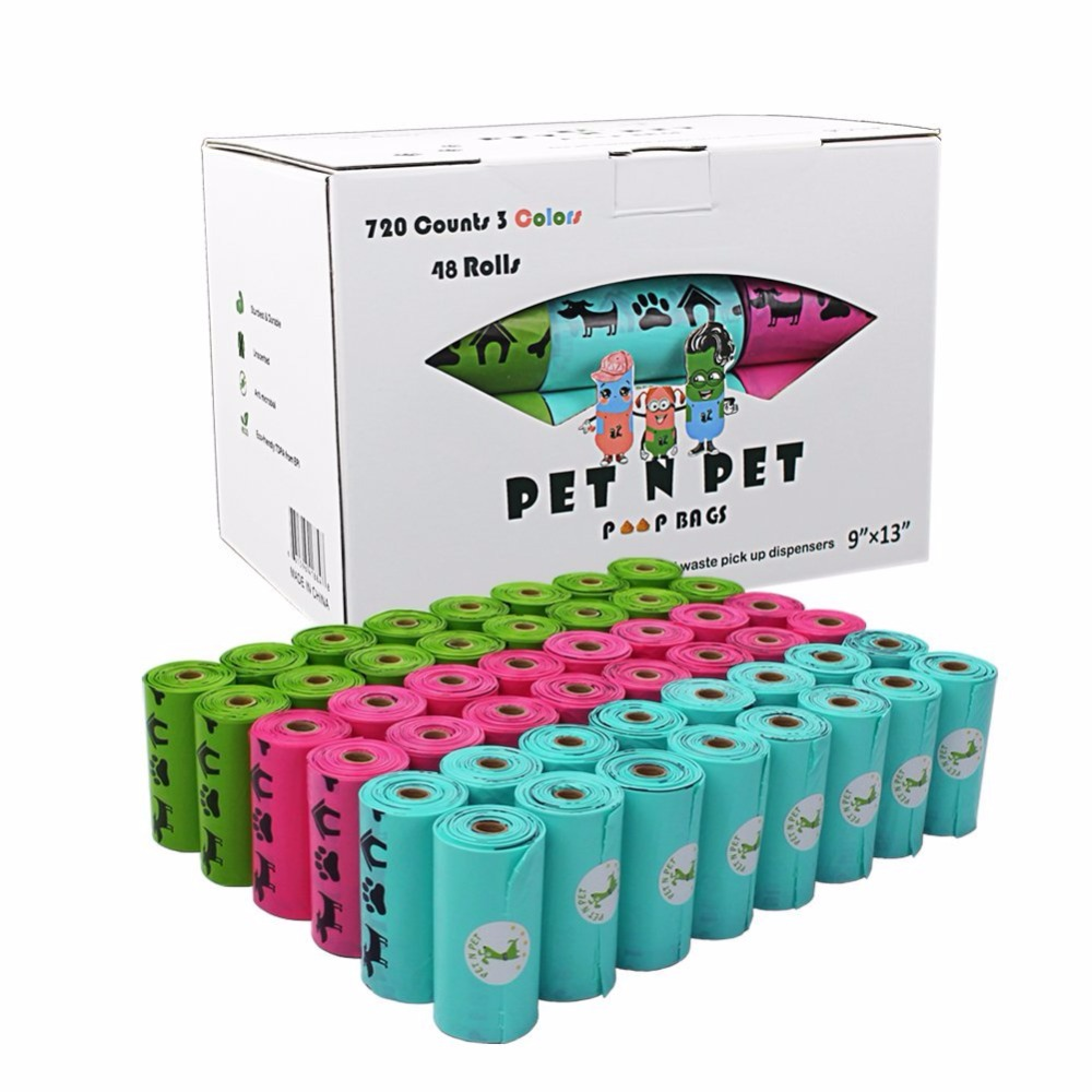 Biodegradable Dog Poop Bags Earth-Friendly 18/48 Rolls 270/720 Counts Blue Green Pink Lavender Scented Garbage Bag Cat Waste Bag