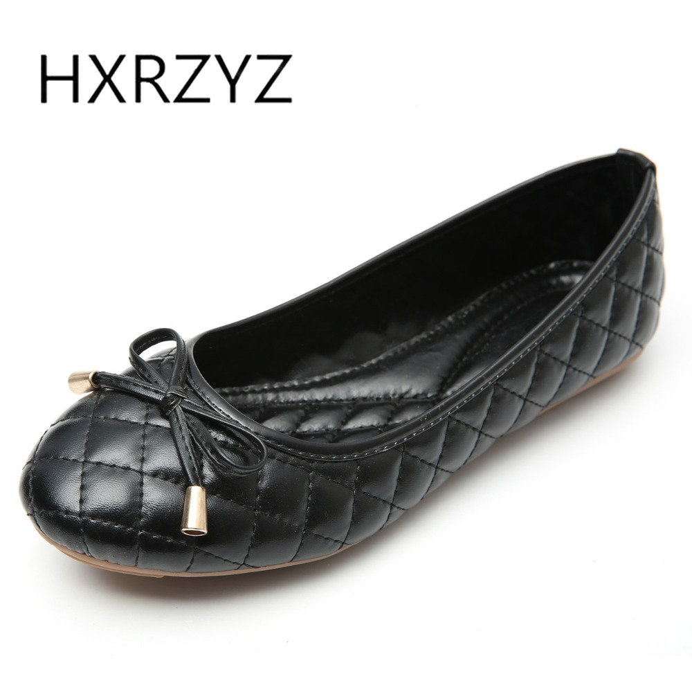 HXRZYZ large size black women flat shoes female casual shoes spring and autumn new fashion ladies bowknot work leather loafers 2017 new spring female flat heels martin shoes bullock shoes female thick bottom loafers large size women shoes obuv ayakkab