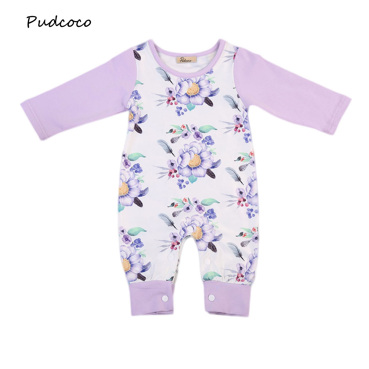 Pudcoco Newborn Infant Baby Girls Kids Cotton Floral Romper Jumpsuit Winter Fall Long Sleeve Clothes Cute One-Piece