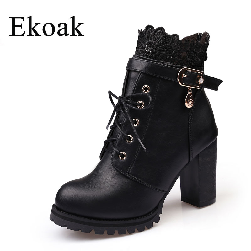 Ekoak New 2017 Fashion Autumn Winter Plush Leather Boots Women Ankle Boots Casual Buckle Lace Up Zip High Heels Martin Boots 2017 fashion new red horsehair women ankle boots square high heel short booties autumn zip up martin botines mujer women pumps