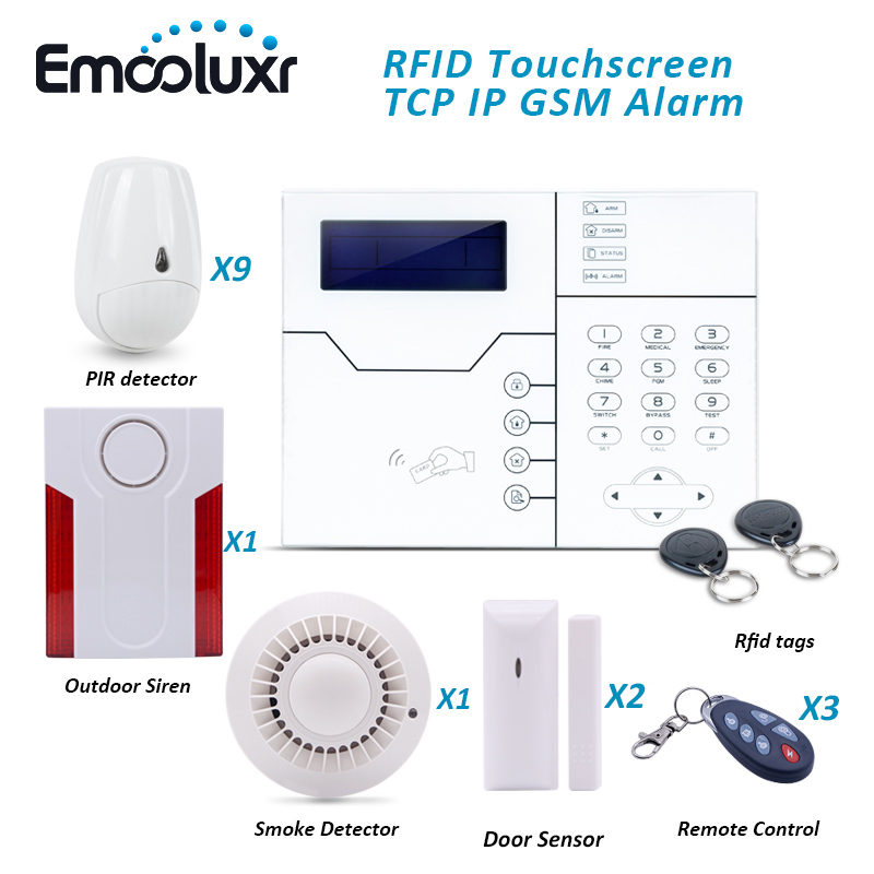 Cyprus GSM Network Alarm System Security Home with Pet Friendly PIR Detector Smoke Detector and Outdoor