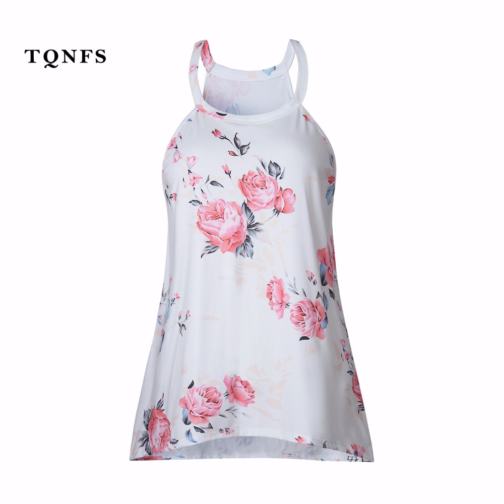 Tqnfs sexy floral print sleeveless t shirt women o neck for White floral shirt womens