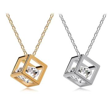 Bling-World New Fashion Hot Chain Crystal Rhinestone Square Pendant Alloy Pendant Necklace Jewelry For Women Sep7