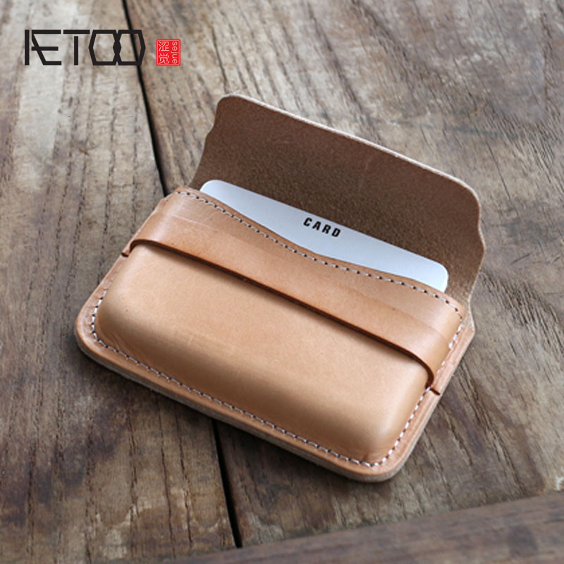 AETOO Original handmade business card package tanned leather leather ...