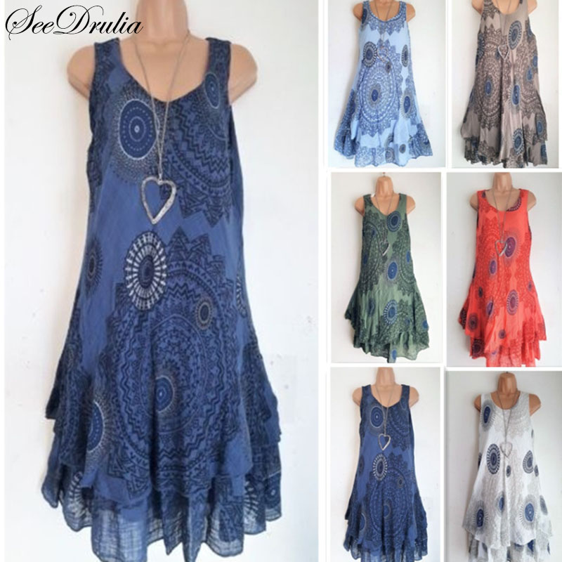 Seedrulia Bohemian Style New Soft Sleeveless Printing A-Line Dress For women Boho Loose Causal Dress Plus Size Beach Sundress 1