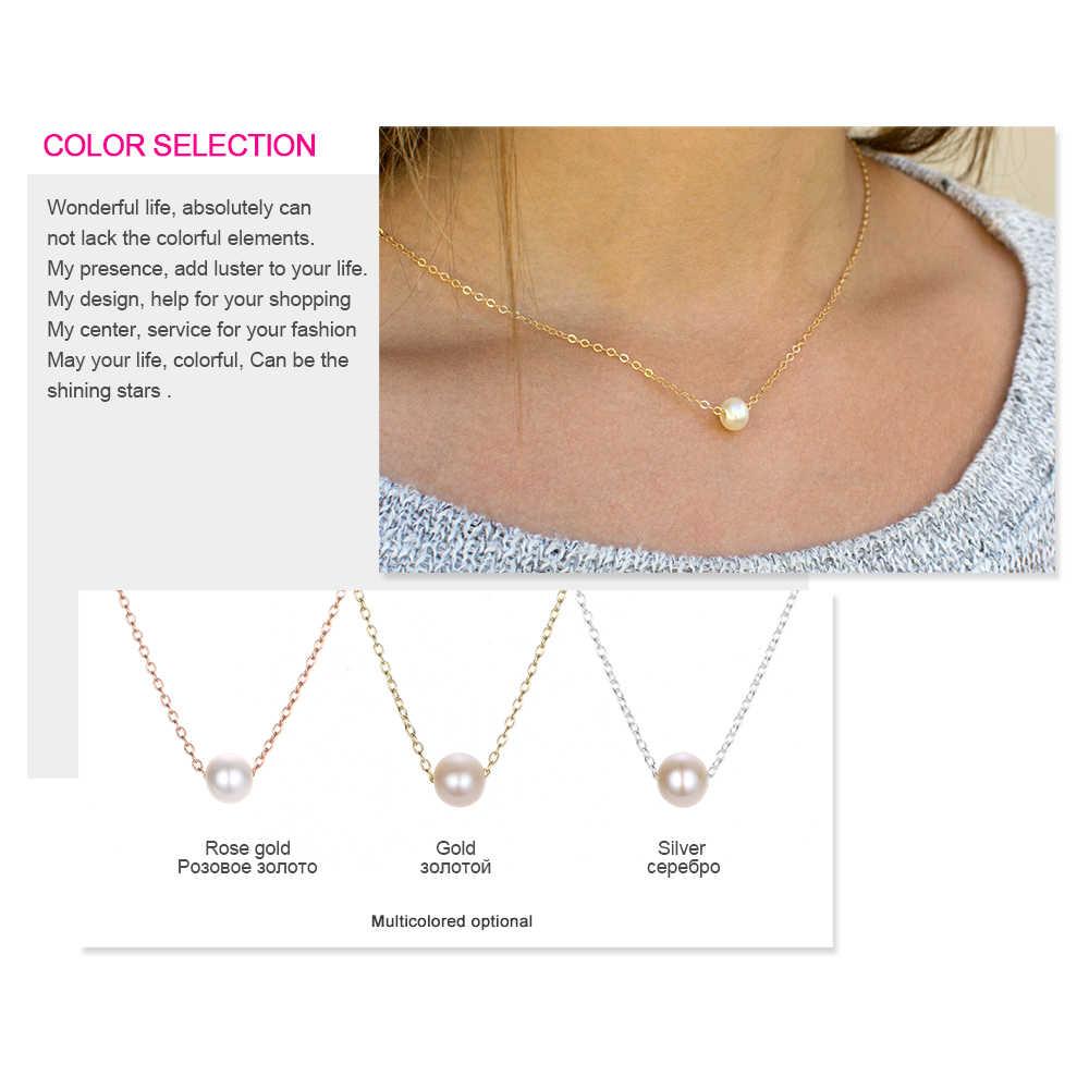 クラシックステンレス鋼のネックレスシンプルな模造真珠のペンダントチョーカーネックレス女性のチェーンネックレスミニマ宝石