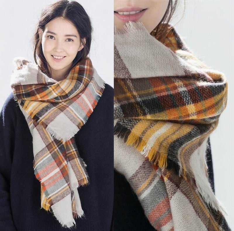 96a6f4332 Detail Feedback Questions about Women Winter oversize plaid scarf ...