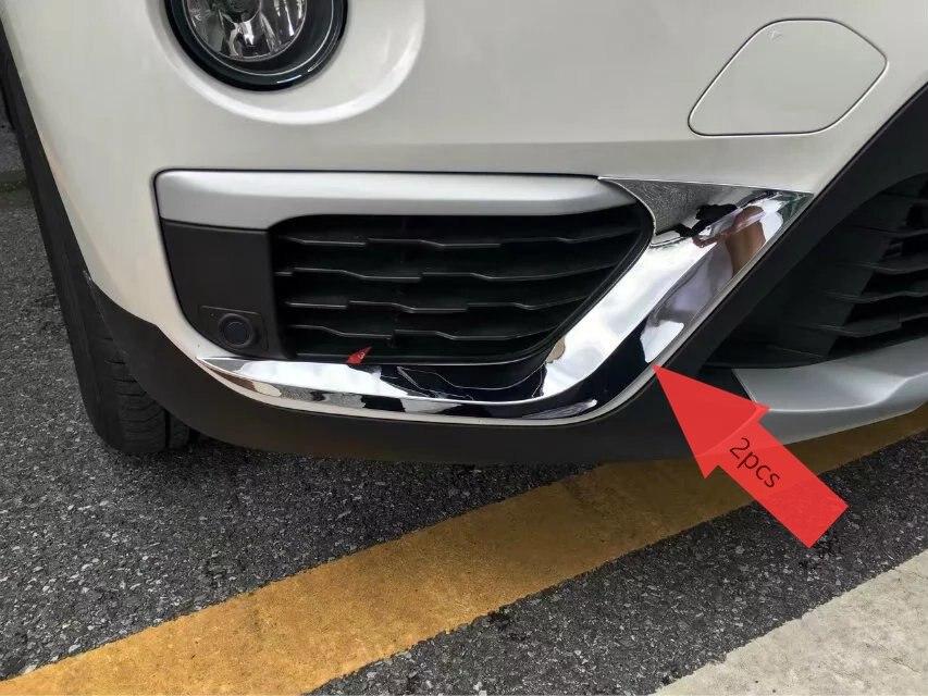 2 pièces Chrome avant antibrouillard lampe paupière rayure couverture garniture garniture garniture accessoires pour BMW X1 F48 2016 2017
