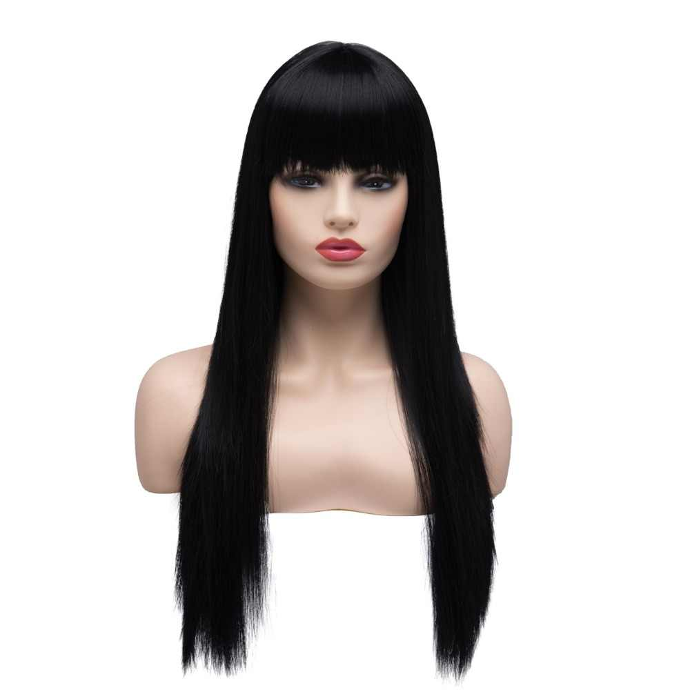 BESTUNG Halloween Cosplay Long Straight Natural Black Premium Synthetic Wigs for Women Costume