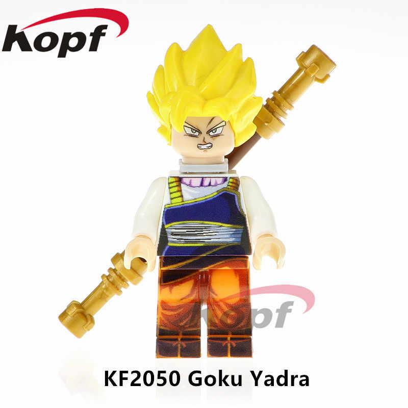 Única Venda Super Heróis Figuras De Dragon Ball Z Goku Vegeta Yadra SSJ3 Futuro Troncos Dolls Blocos Crianças Brinquedos de Presente KF2050