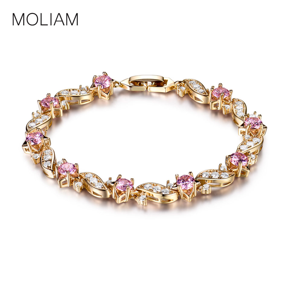 MOLIAM Lovely Gold-Color Bracelets Round Crystal Cubic zirconia Shinning Lady Chain Bracelet Bangle Jewelry Hot Sale MLL104
