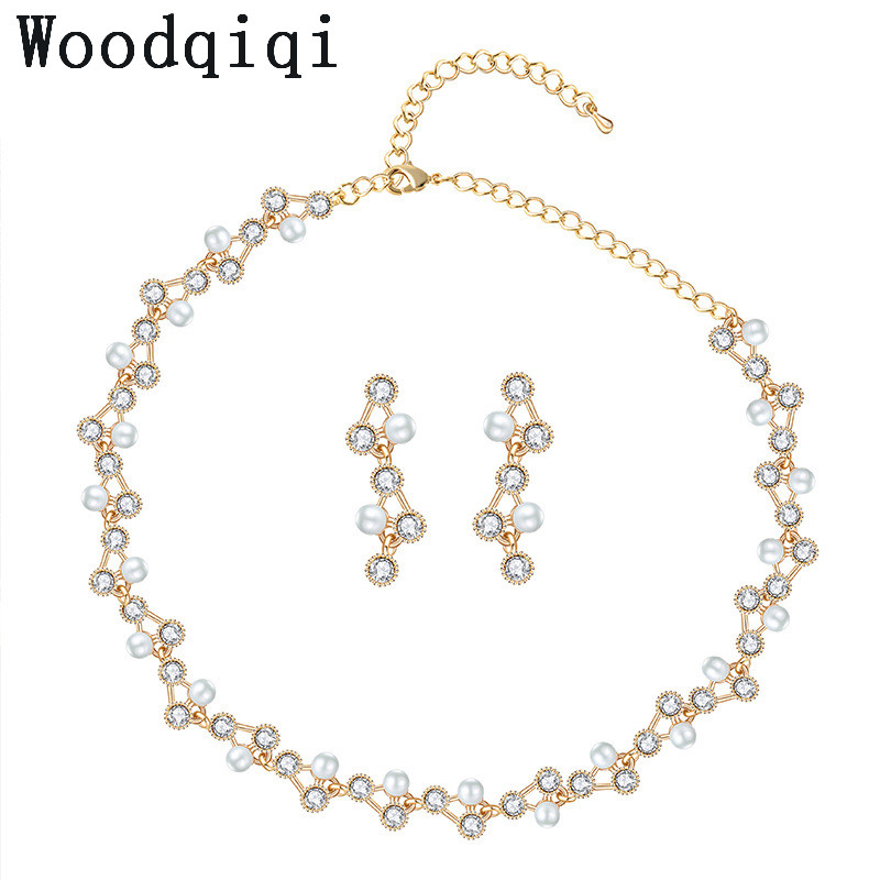 Woodqiqi Jewelry Sets For Women Party Dress Gold Color Noble Eaegance Gold Color Noble Elegance
