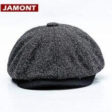 e5f63762984d99 [JAMONT]2018 Winter Automn Newsboy Cap Men Women Octagonal Hat Solid Vintage  Baker Boy